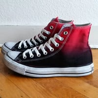 Vivid red to black ombre Converse, dip dye upcycled sneakers, All Stars, Chucks, uk 7 (eu 40, us wo 9, us mens 7)