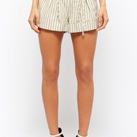 Striped Lace-Up Shorts