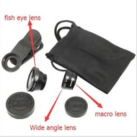 Copy of 3 In 1 Clip-on Fish Eye Macro Wide Angle Mobile Phone Lens Camera kit for iPhone Samsung all phones
