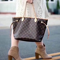 LV Louis Vuitton Vogue Classic Women Leather Handbag Tote Shoulder Bag And Wallet Two Piece A Set