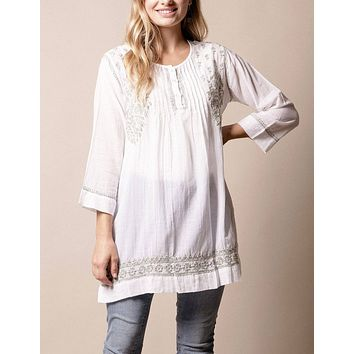 Fair Trade Aisha Tunic - Sage - Large Only - As-Is-Clearance