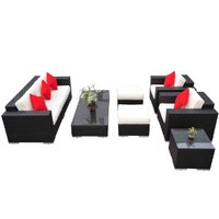 Outsunny 7 Piece PE Rattan Wicker Sectional Patio Sofa Furniture Set