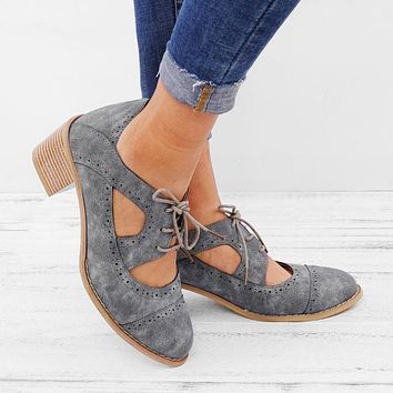 Vintage Shoes Women Lace Up Sandal Chunky High Heels Cut Outs Female Casual Footwear