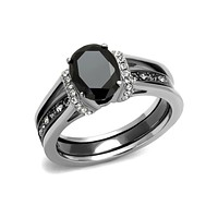 Maleficent - Stainless Steel Two Tone IP Black Glass Stone Stackable Ring