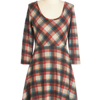 ModCloth Vintage Inspired, 90s, Scholastic Mid-length 3 A-line Get Carried Array Dress