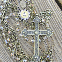 Bullet Necklace, Bullet Jewelry, Cross Necklace, Rosary style necklace, Outlaw Glam
