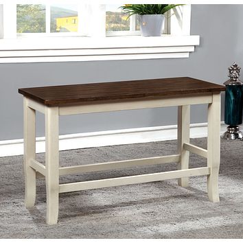 Amina Transitional Counter Height Bench, Cherry and Vintage White