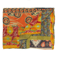 I liked this design on #Fab. Vintage Kantha Quilt Navy & Or.