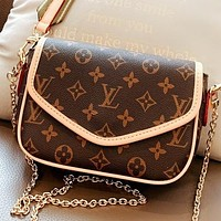Hipgirls LV New fashion monogram print leather shoulder bag crossbody bag two piece suit Coffee