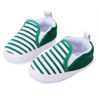 3-12M Kids Baby Boys Girls Stripes Anti-Slip Sneakers Soft Bottom Shoes First Walkers