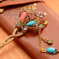 Chinese Ancient Classical Lady Styling Tools Wedding Hair Accessories Peacock Hair Sticks Butterfly Hairpins Tiara Hair Jewelry