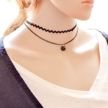 Shiny Gift New Arrival forever21 choker Jewelry Stylish Korean Pendant Simple Wavy Design Vintage Innovative Chain Layered Necklace [7786528455]