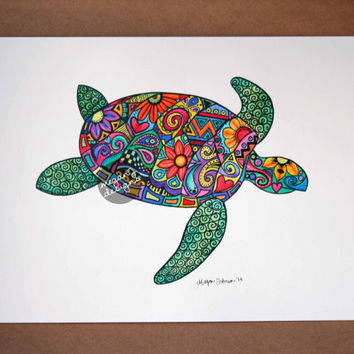 Original Watercolor Ink Painting Art - 9x12 Sea Turtle Colorful Paint and Ink Wall Art Summer Boho Hippie Drawing Hand Painted Beach