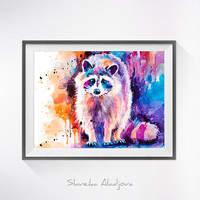 Raccoon watercolor painting print, Raccoon art, animal watercolor, animal illustration, Raccoon illustration, Raccoon poster, art print