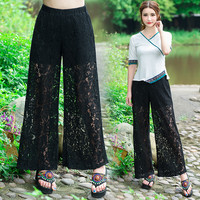 2016 spring summer new fashion women wide leg pants lace palazzo pants(white/black)