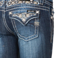 Miss Me Beads Flower Insert Boot Cut Jeans