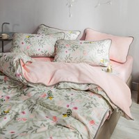 Cool Printed edging Flannel Bedding Set 21 colors Pure cotton for double-sided use Duvet Cover set Bed set skirt Twin Queen King sizeAT_93_12