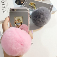Metal, Rope and Mirror TPU Phone Case with Rabbit Fur Ball for iPhone 5 5S 6 6S plus
