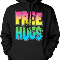 Free Hugs Rainbow and Silver Mens Sweatshirt, Funny Trendy Sexy Bright Statements Pullover Hoodie