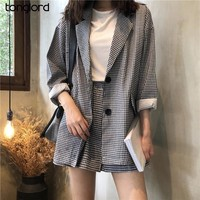 TongLord Women Blazers Sets 2018 Spring Autumn Summer Plaid Coats Long Sleeve Suit Jackets+Elastic Waist Shorts Two Piece Suits