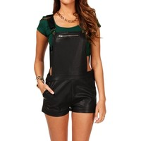 SALE-Black Faux Leather Overall Shorts