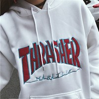 Thrasher new tide student loose ulzzang autumn and winter plus velvet ins super fire jacket White + red words