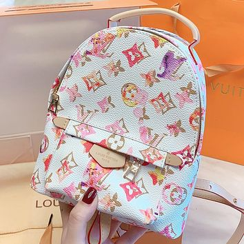 LV New fashion monogram leather backpack bag book bag White
