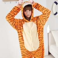 Unisex Flannel Onesuits For Adult Cut Animal Pajamas Onesuits Tigger Hooded Adult Animal Onesuits Pijama