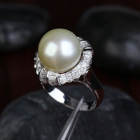 12.35mm South Sea Pearls VS/H 1.0CT Diamond Engagement Ring 14K White Gold