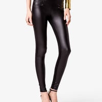 Faux Leather Zippered Leggings