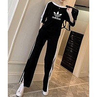"""Adidas"" Women Sport Casual Stripe Clover Letter Print Middle Sleeve Trousers Set Two-Piece Sportswear"