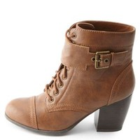 Chunky Heel Belted Lace-Up Booties by Charlotte Russe - Cognac