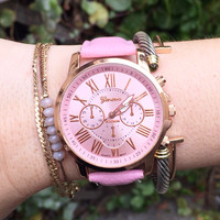 Pastel Pink Vegan Leather Watch