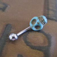 Belly Button Jewelry- Turquoise Skull Navel Piercing Ring Stud Bar Barbell