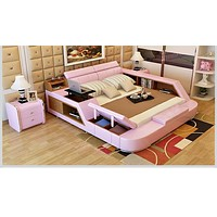 Pink Stuff Side Leather Bed For Room Furniture