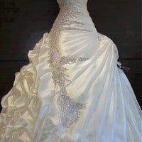 [249.99] Elegant Satin Sweetheart Neckline Ball Gown Wedding Dresses With Beadings & Rhinestones - Dressilyme.com
