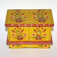 Antique Old Rare Wooden Jewelry Box Hand painted wood yellow box Folk Trinket Box Hand Tooled Handmade hand painted flowers Polish box 60s