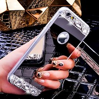 i5/i6/Plus Luxury Mirror Cover Fashion Ultra Thin Bling Crystal Diamond Phone Case For iPhone 5 5S/6 6S/6 6S Plus Women Fashion