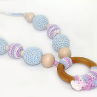 Crochet Nursing/Teething necklace with ring for Mother and child - Teething necklace with crochet beads Nursing Breastfeeding Mommy