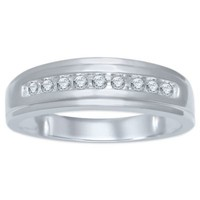 10K White Gold .20 cttw Channel-Set Diamond Men's Wedding Band