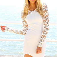 Lace Long Sleeve Cut Out Bodycon Beach Dress