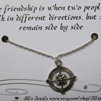 Compass Best Friend Necklace and Quote Inspirational Card- Bridesmaids Gift - Friendship Necklace - Friends Forever - Quote Gift