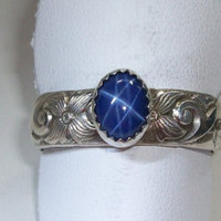 Sterling Silver Blue Star Sapphire Ring Star Pattern September Birthstone