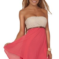 Juniors Casual Crochet Chiffon Color Block Strapless Belted Empire Waist Mini Dress