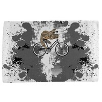Bicycle Sloth Funny Grunge Splatter All Over Hand Towel