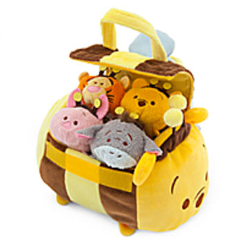 Winnie the Pooh ''Tsum Tsum'' Plush Set - Small Bag - 8'' - Plus 4 Minis - 3 1/2''