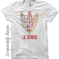 Iron on Thanksgiving Shirt - Lil Indian Iron on Transfer / Thanksgiving Feather Childrens Clothing / Baby Boy Thanksgiving Outfit IT470-C