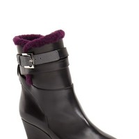Women's Fendi 'Charline' Shearling Wedge Bootie,