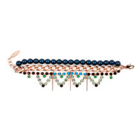 High Society Crystal Bracelet W/ Triangles, Pearls & Chain - Blue/ Green/ Jet