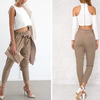 Drawstring High Waist Harem Pants